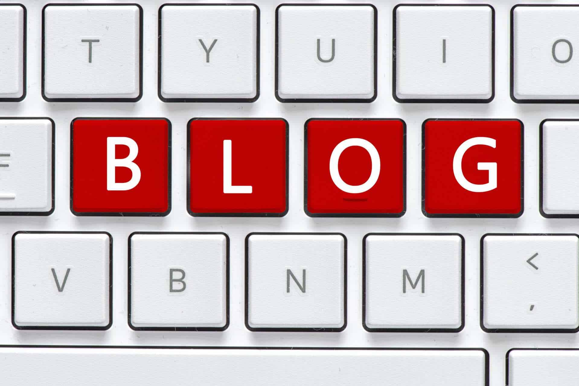 keyboard with blog in red letters