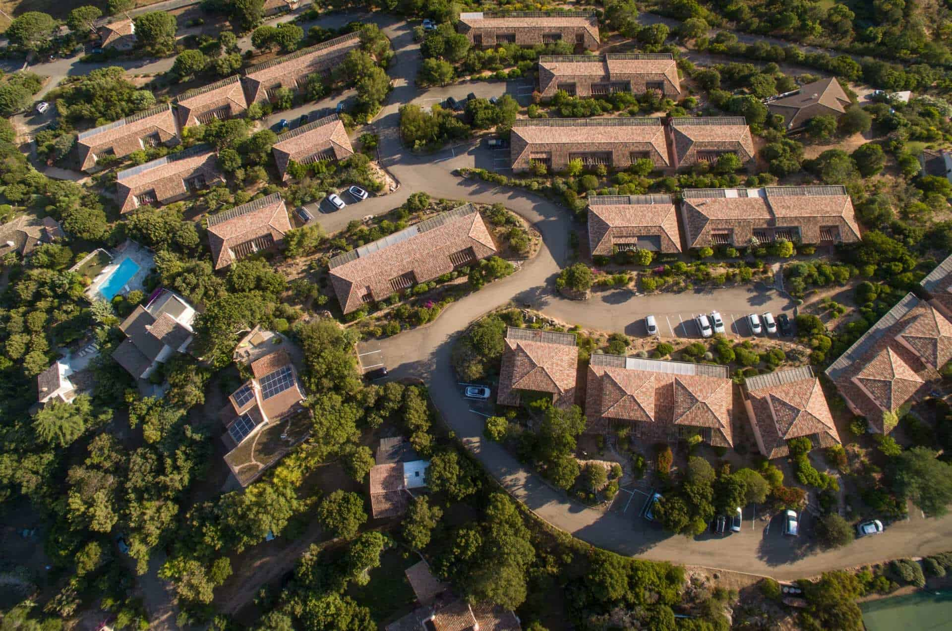 Aerial view of a nice neighborhood on a sunny day.