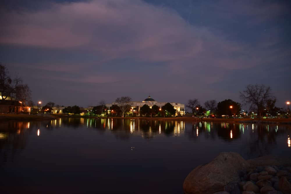 Seven Oaks at Grand Island neighborhood in Bakersfield, CA at night