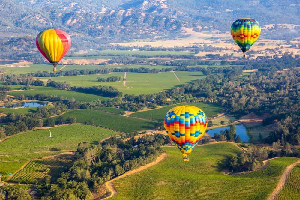 Hot air balloons over Napa Valley in Napa, CA